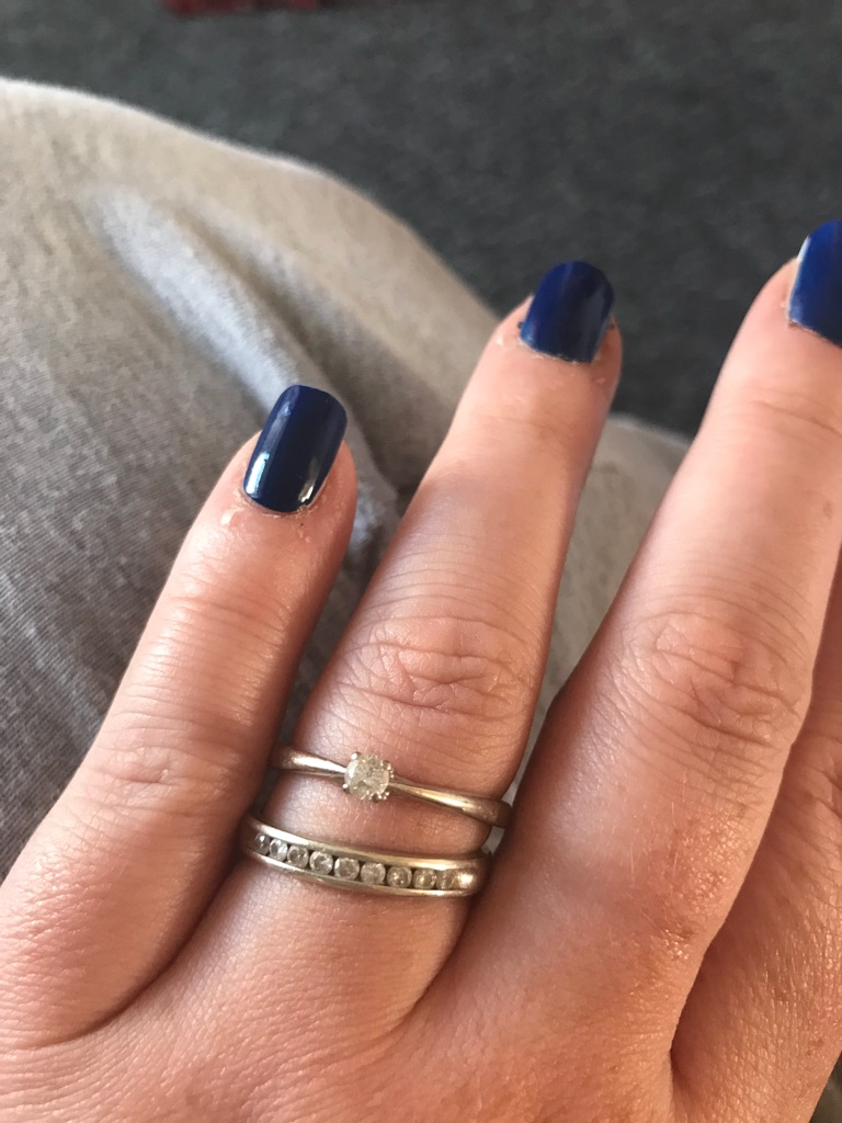 Engagement ring and wedding ring size s