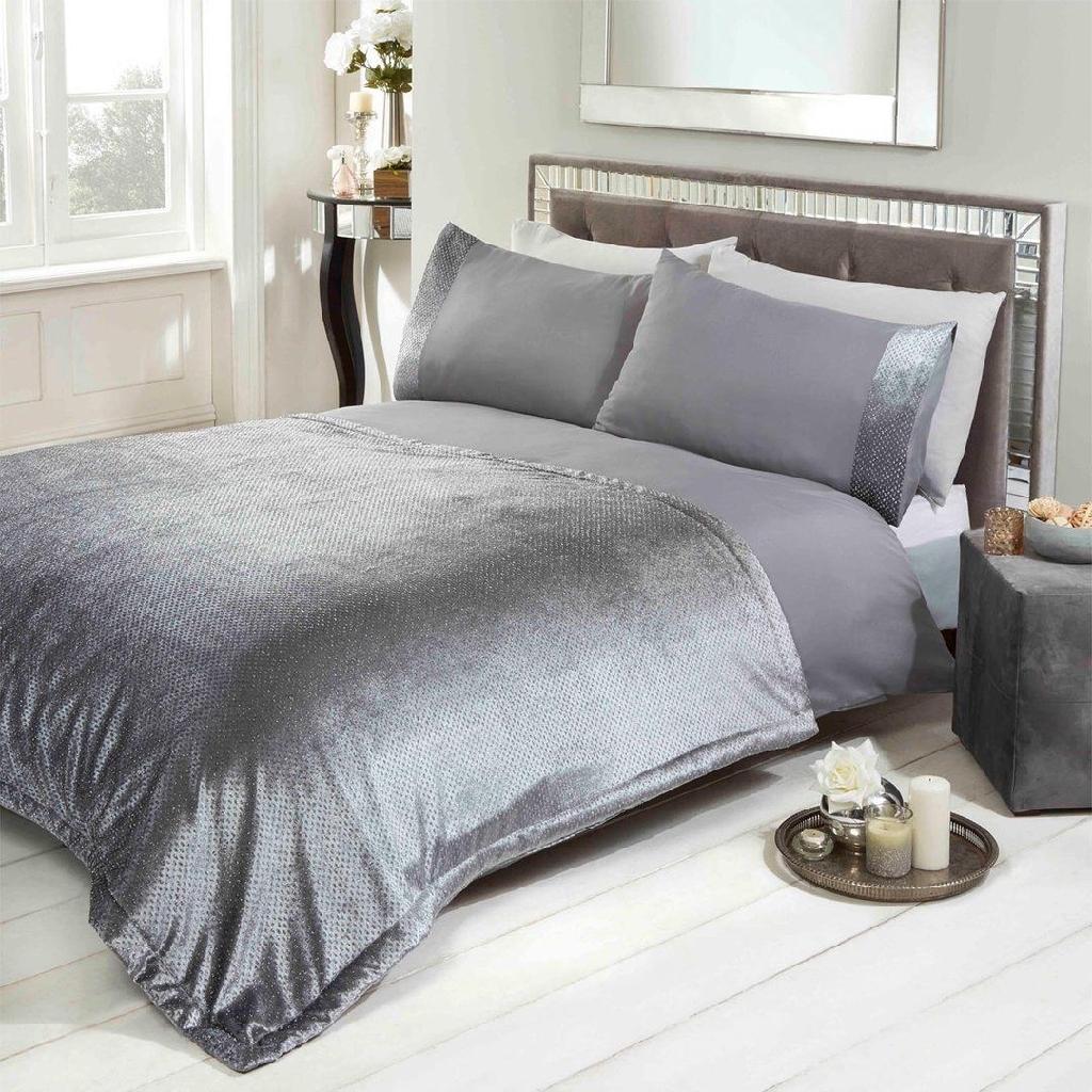Silver Glitter Velvet Bedspread