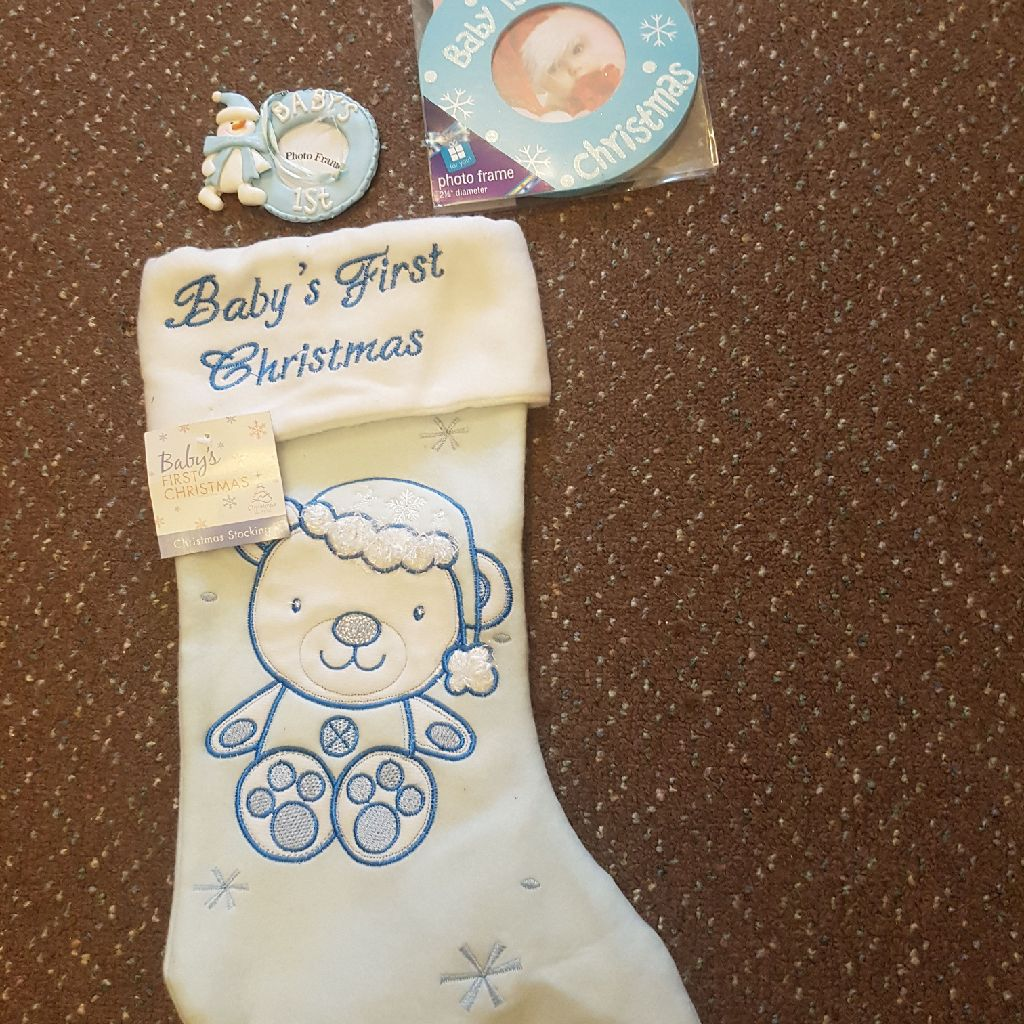 Baby's First Christmas sock and photo frame NEW