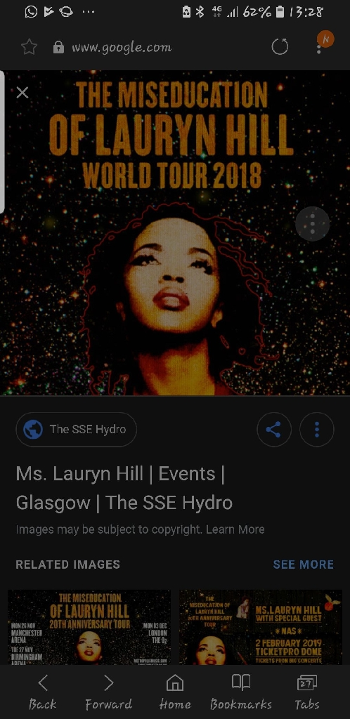 2 Lauryn Hill tickets for sale. Cost £210. Sell for £130