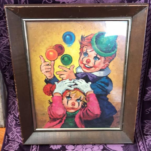 Vintage framed clown kids