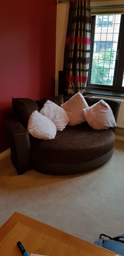 Chocolate brown cuddler sofa