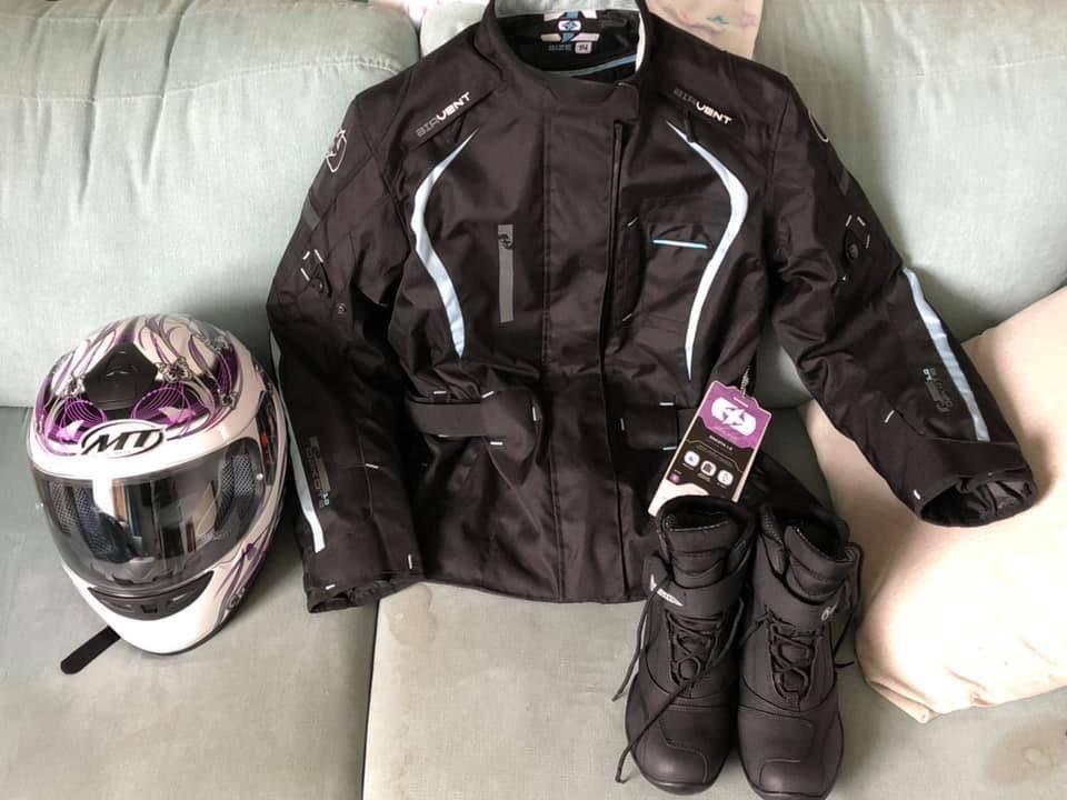 Motor bike jacket, boots and helmet
