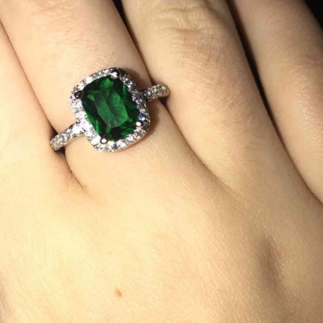 Silver Green Emerald Ring
