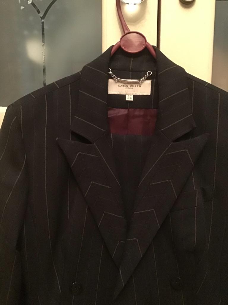 Gorgeous Karen Millen black stripe trouser suit size 14