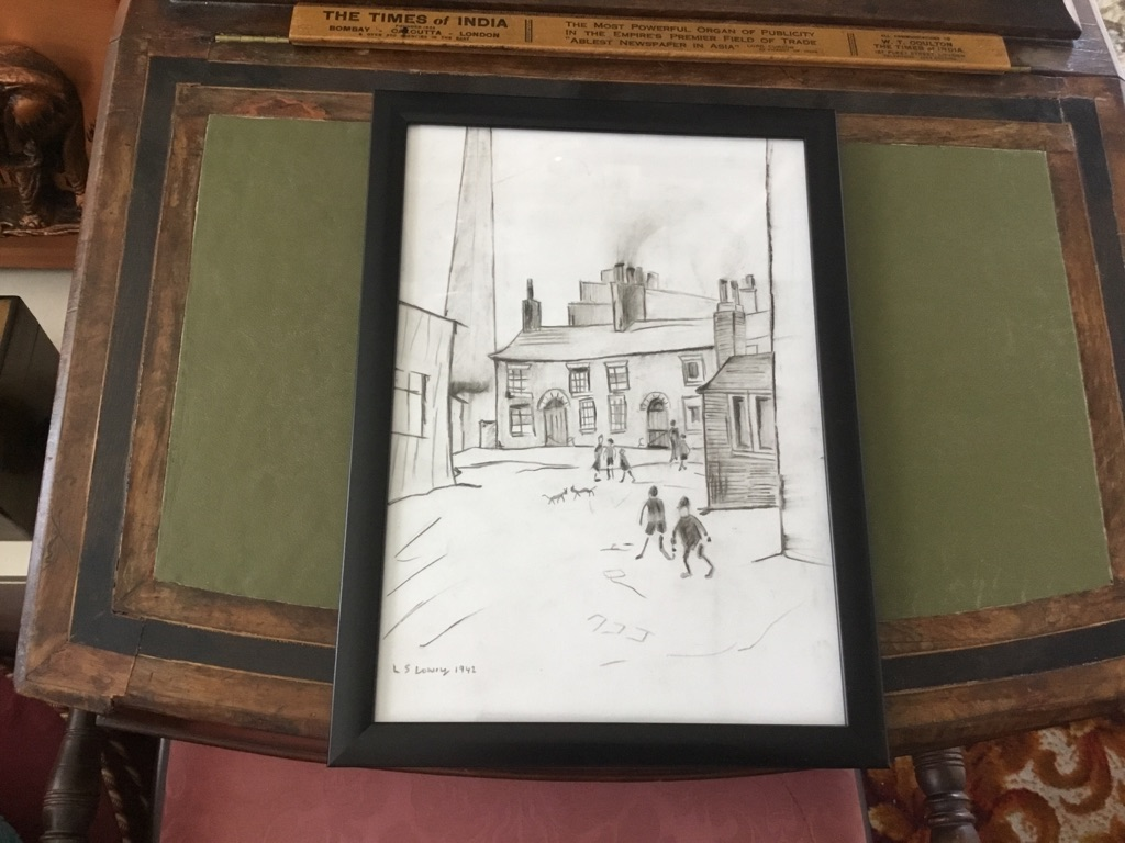 L S Lowry Pencil and charcoal sketch