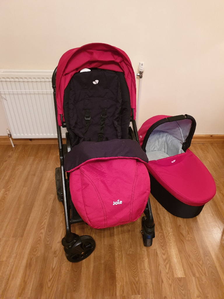 Joie chrome pram and pushchair on Red