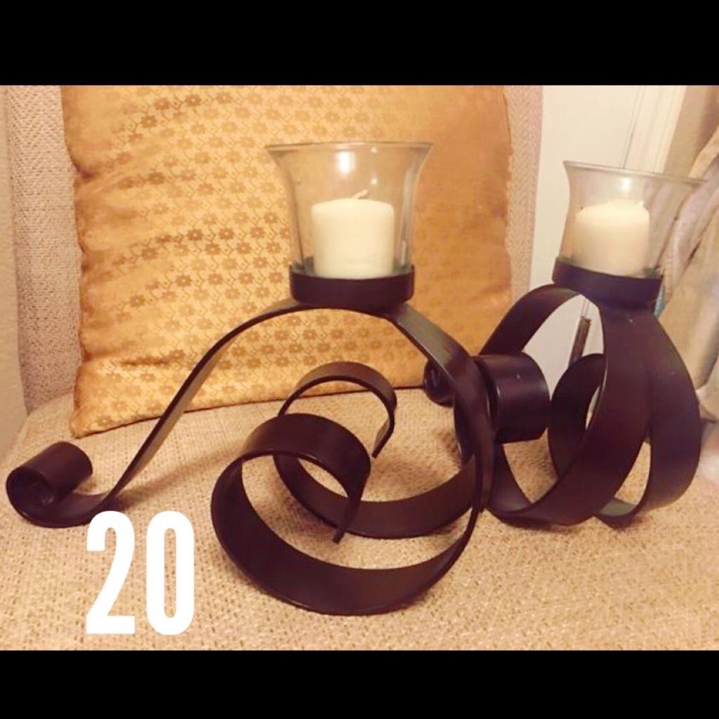 Metal darkbrown candle holders