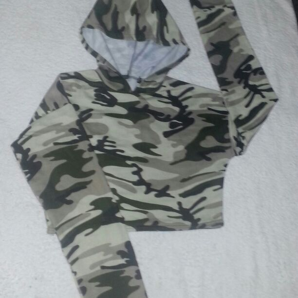 Size 6/8  and size 10 army style jumper with hood
