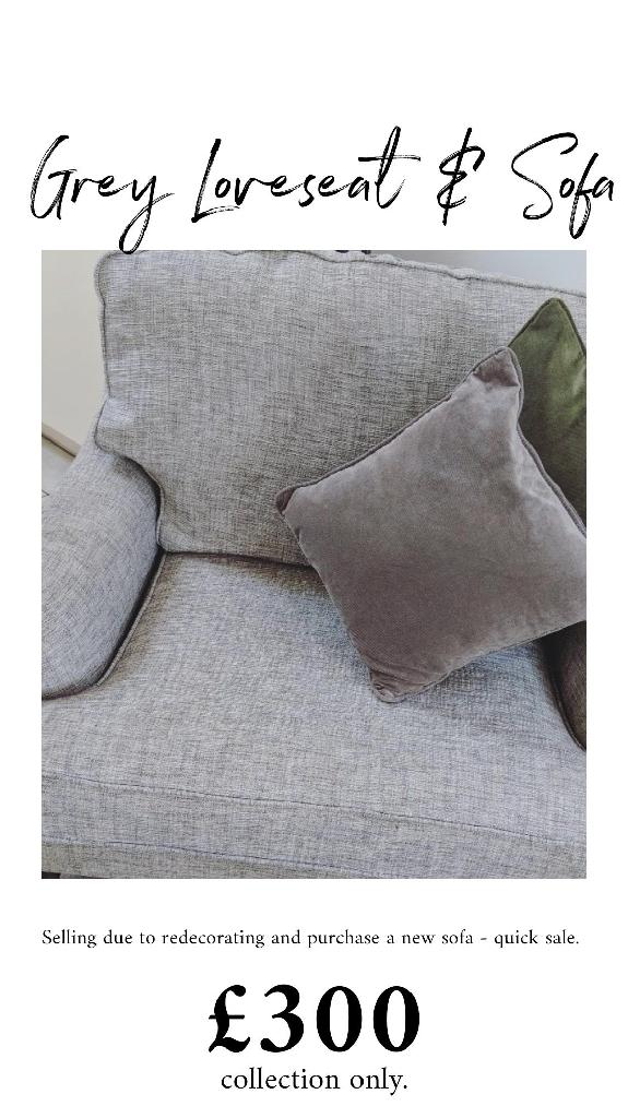 Harvey's Grey Sofa & Loveseat