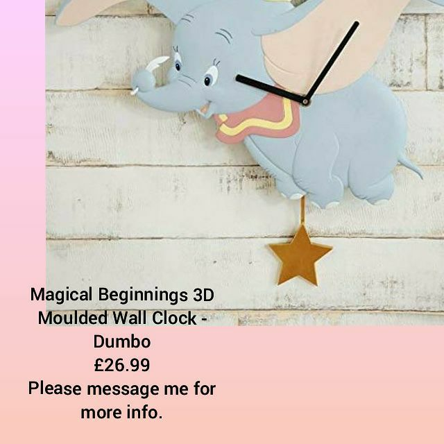 ❤Magical Beginnings 3D Moulded Wall Clock - Dumbo 💥£26.99