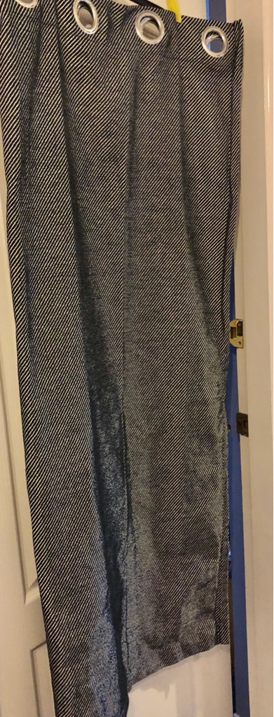PAIR OF BLACK AND SILVER RING TOP CURTAINS