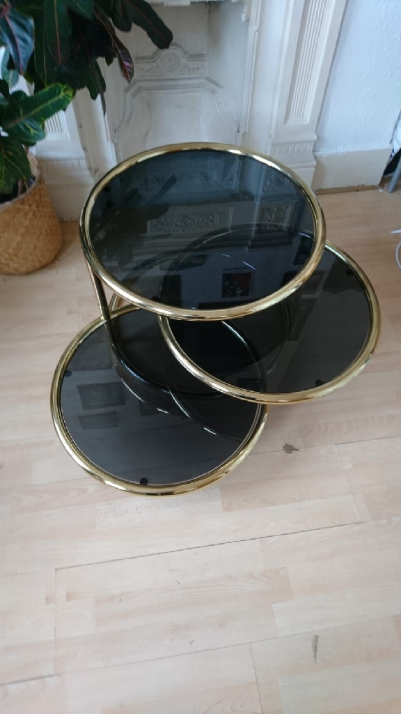 Vintage Brass and Glass Milo Baughman Style Three Tier Swivel Coffee Table
