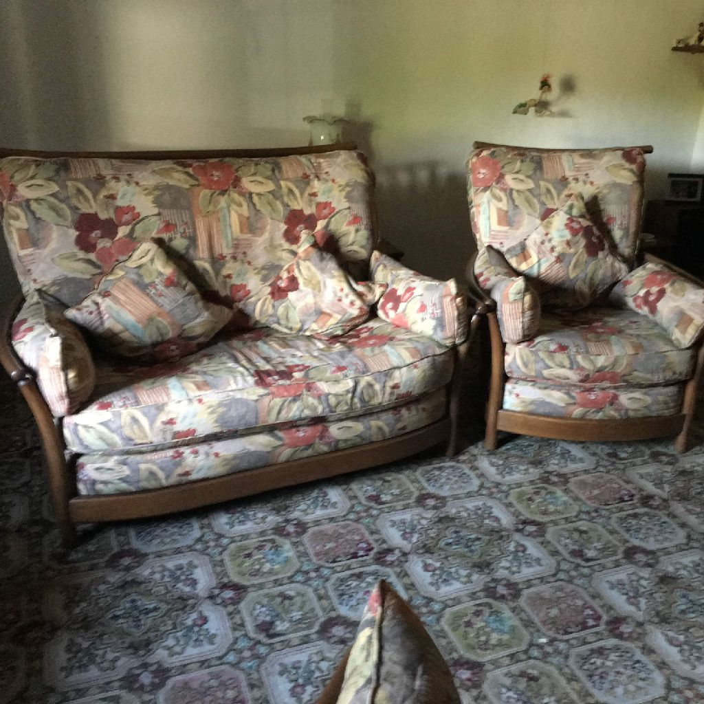 Ercol sofa and 3 chairs