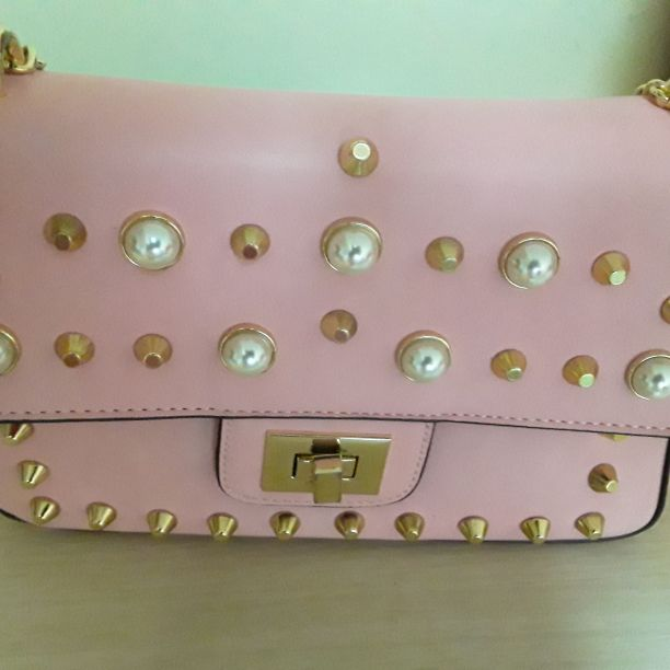 Pink bag with perals