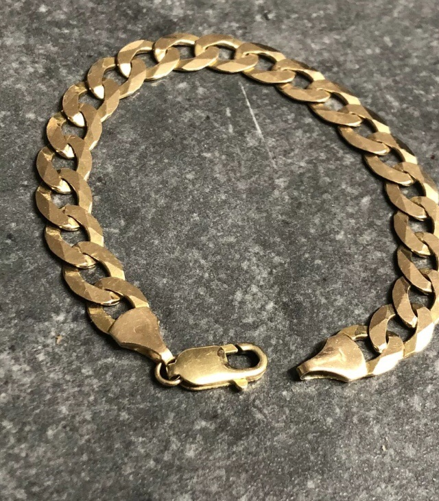 9ct gold flat curb cut bracelet ( Heavy 32 grams Women's And Men's HALLMARKED