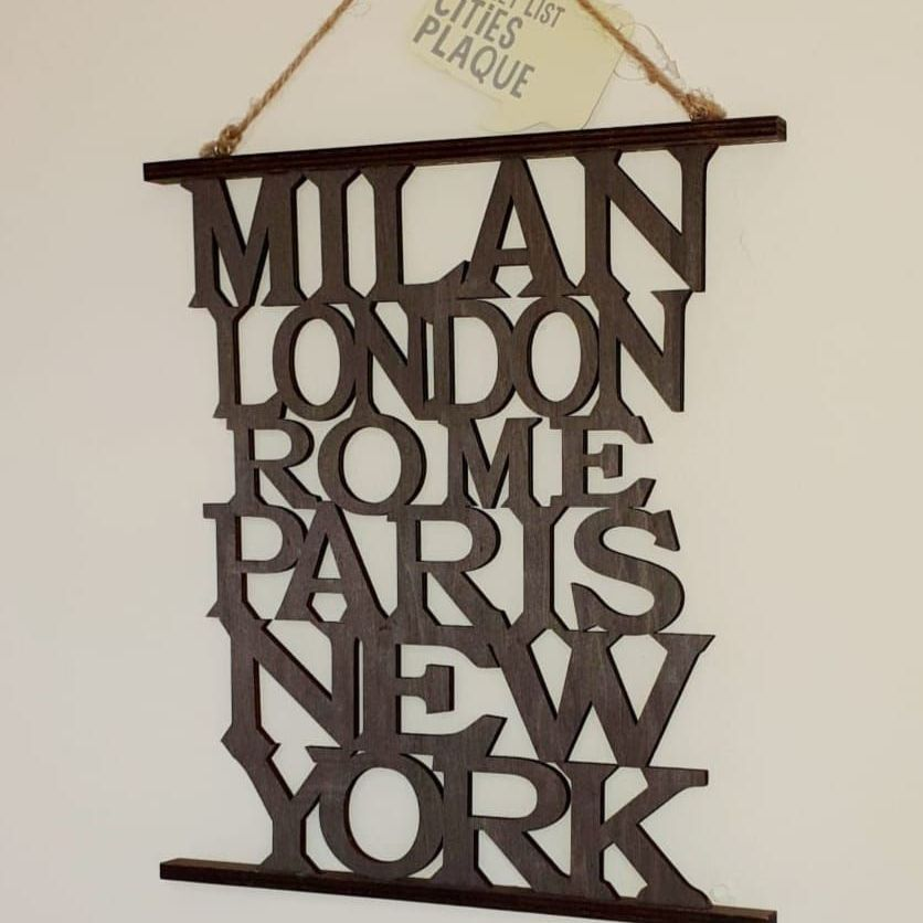 cities hanging wall plaque