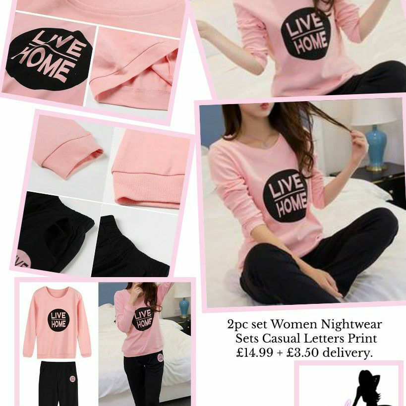 2pc set Women Nightwear Sets Casual Letters Print