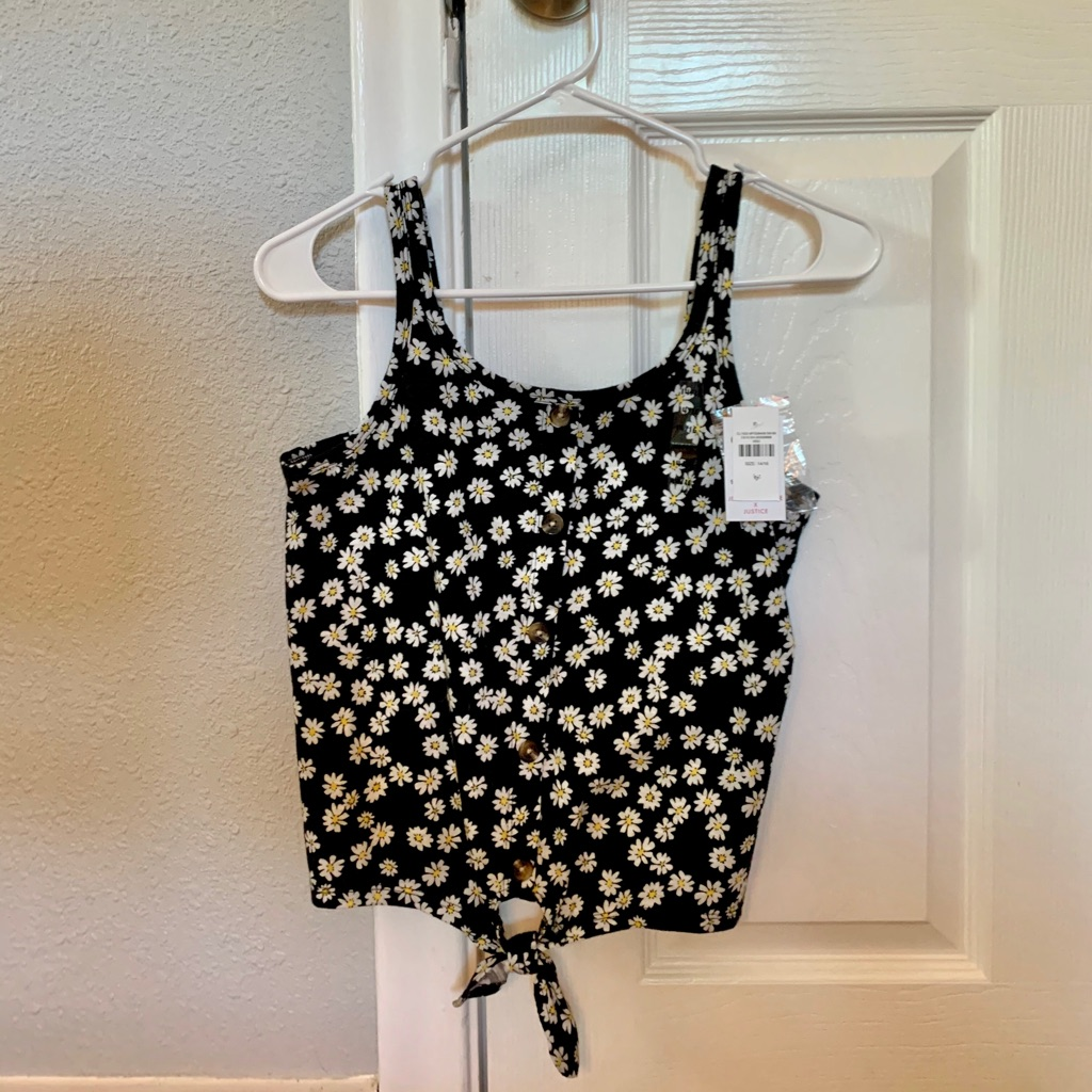 Brand New With Tags Daisy Button Tie Front Tank from Justice