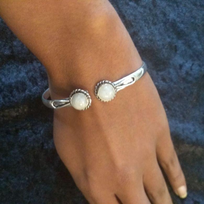 Moon Stone Gemstone Bracelet Bangle