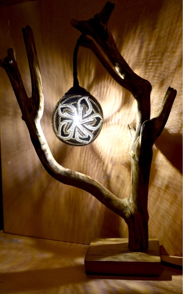 Coconut & wood decorative lamp