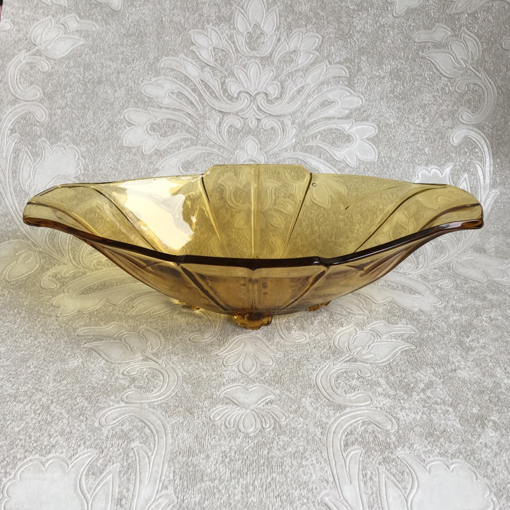 Amber Glass Footed Boat Dish