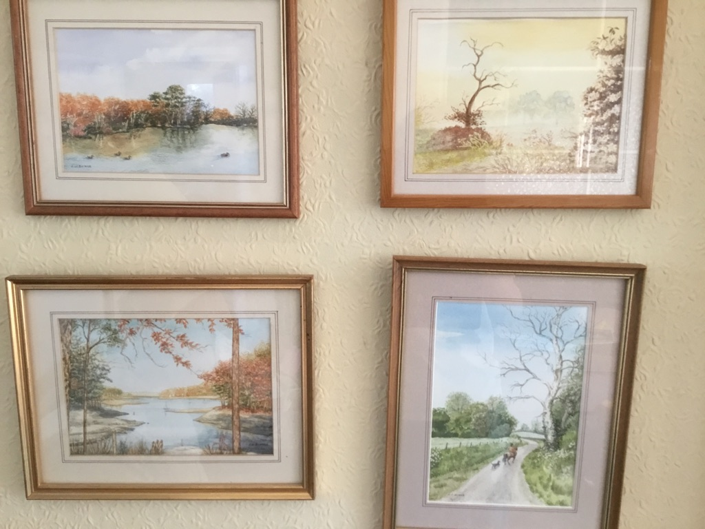 Four original watercolour paintings in frames