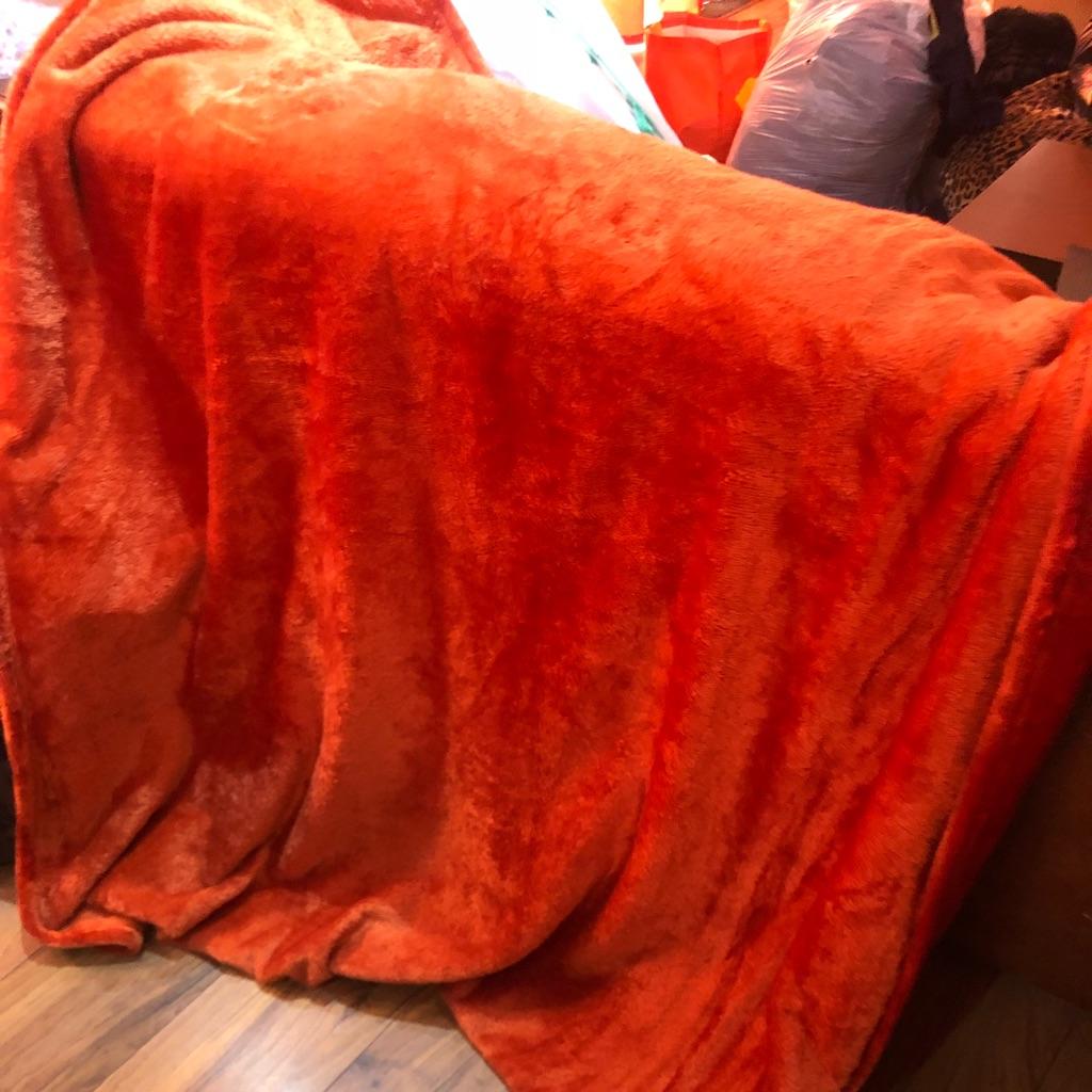 Orange fur throw