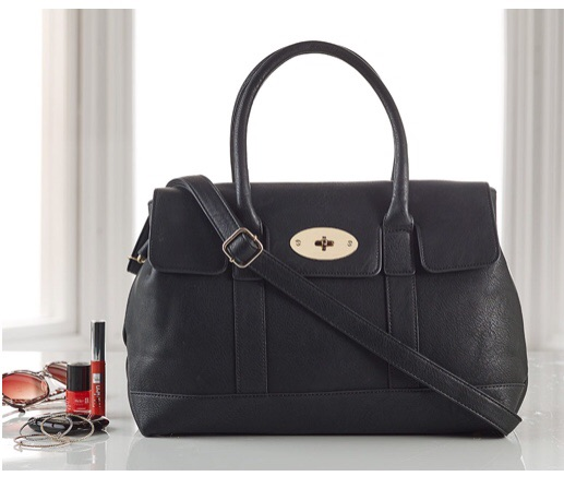 Black Faux Leather Shopper