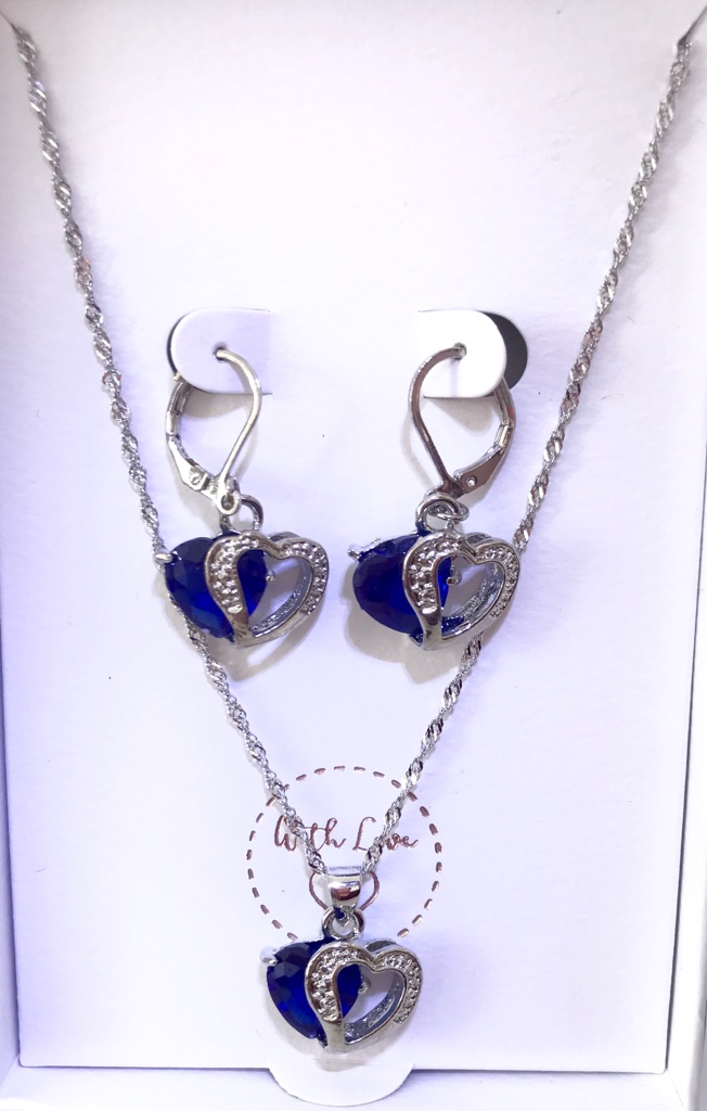 925 Blue Crystal Heart set
