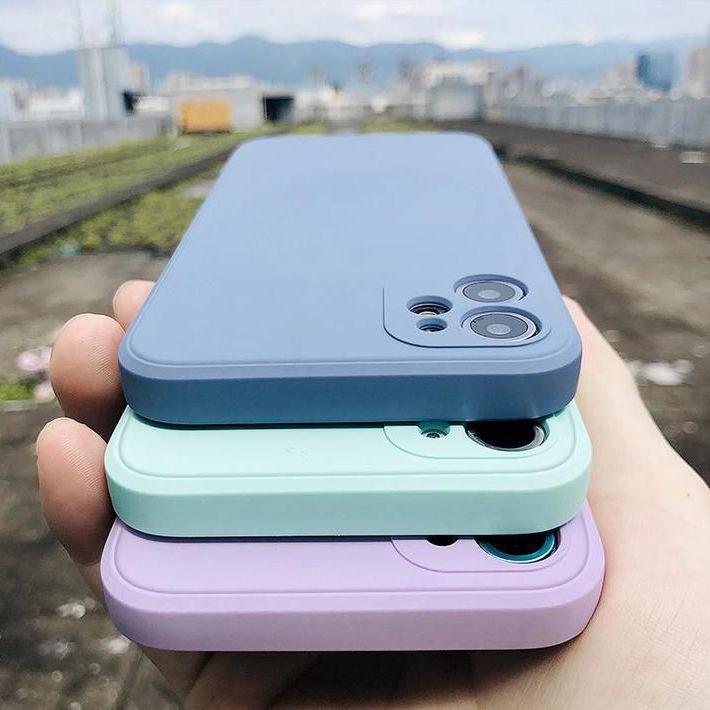 Candy Color Square Liquid Silicone iPhone Case