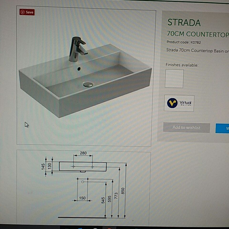 Ideal Standard Strada 70cm counter top basin