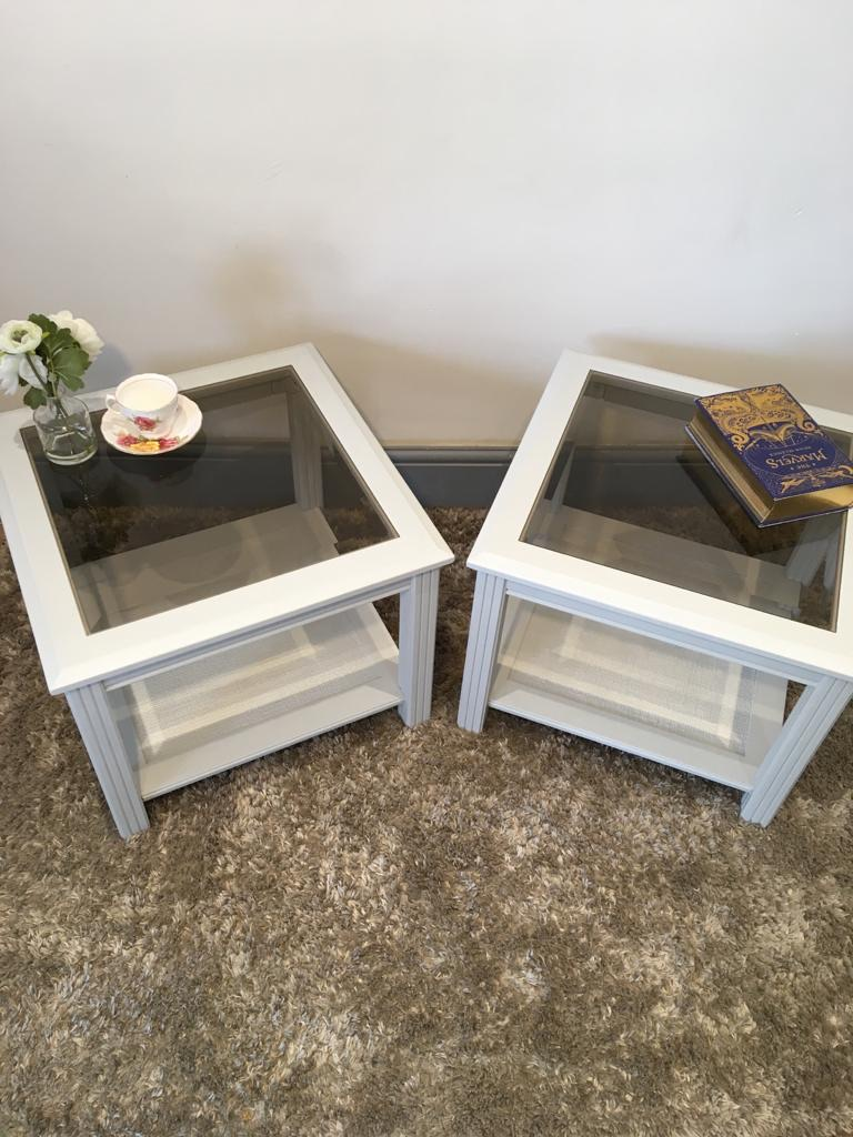 Pair of very light grey glass top side tables. Local delivery free