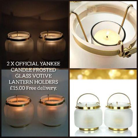 2 X OFFICIAL YANKEE CANDLE FROSTED GLASS VOTIVE LANTERN HOLDERS