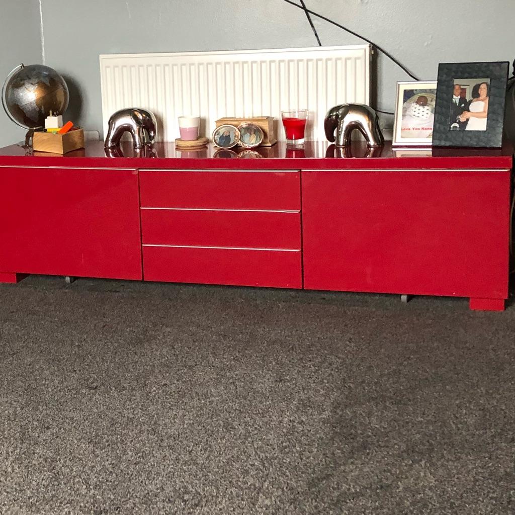 Red tv storage unit