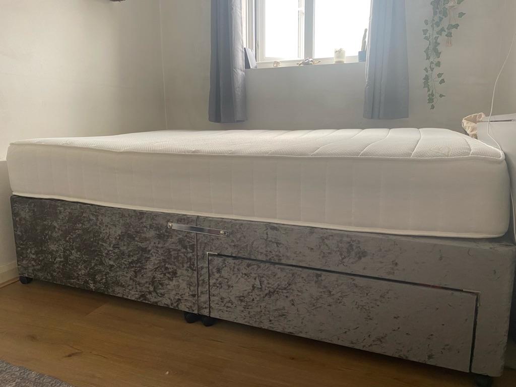 Crushed velvet divan double bed