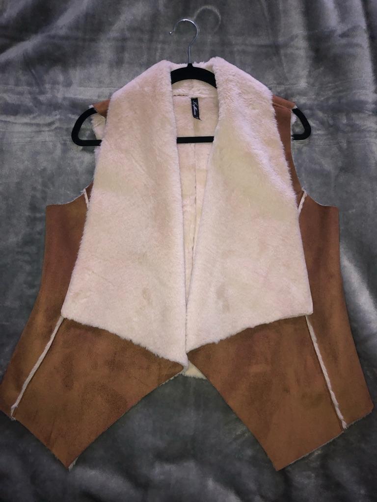 Brown/Cream Fur Gilet Size UK 12