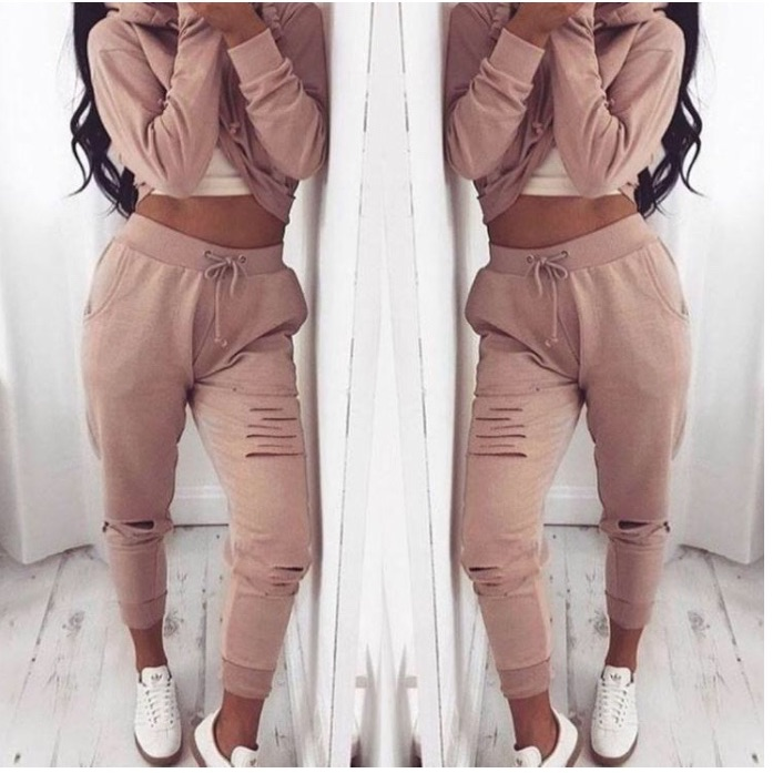 Distressed dusty pink tracksuit
