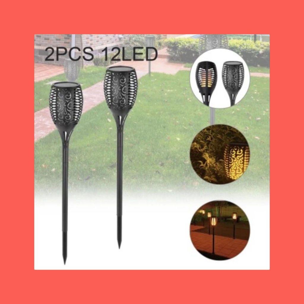 2X Solar Power Light Waterproof Flame Flickering Dancing Garden Lamp