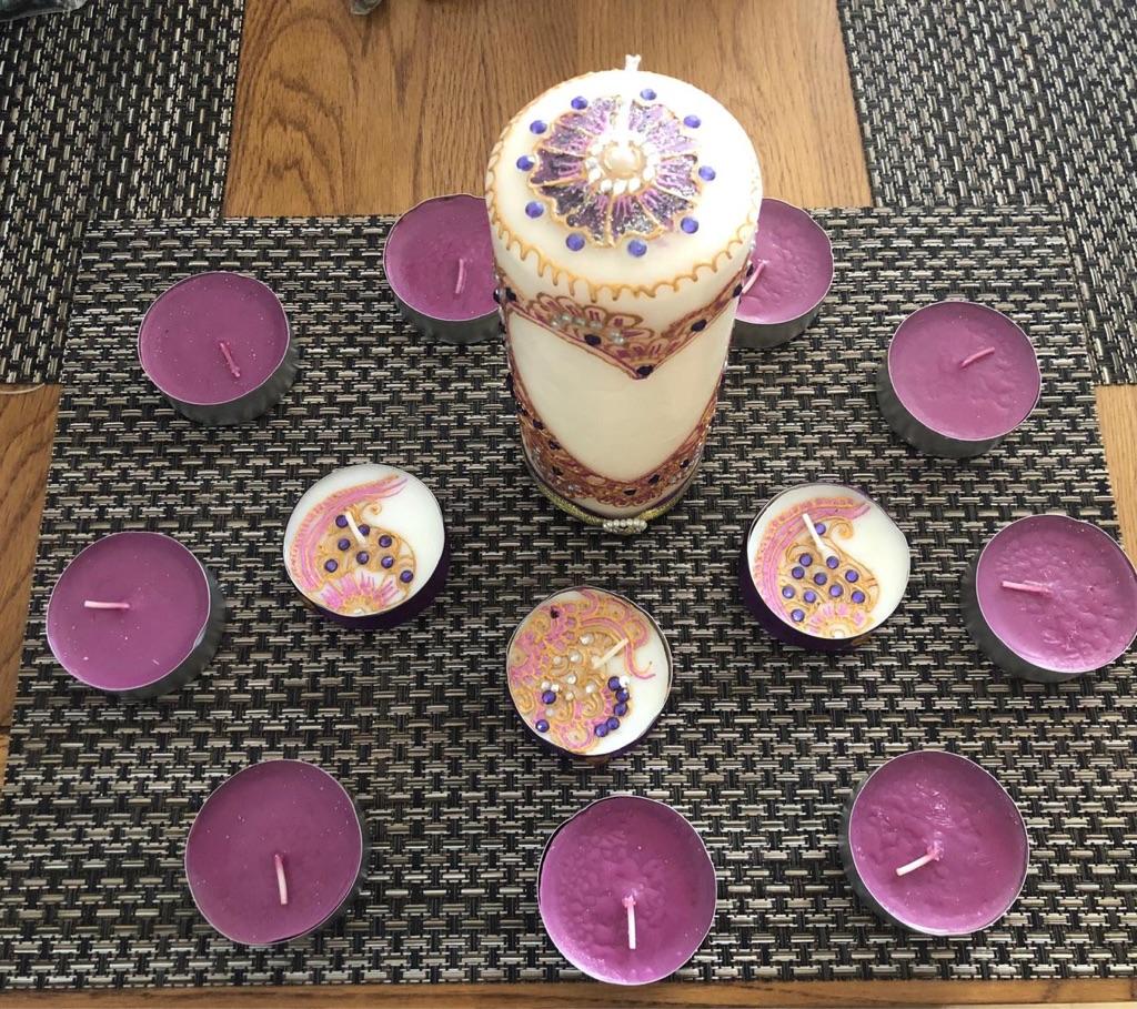 Henna / Mendhi Designed Candle Set (Purple)