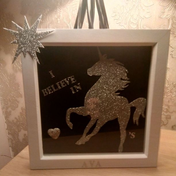 Glitter Unicorn box frame