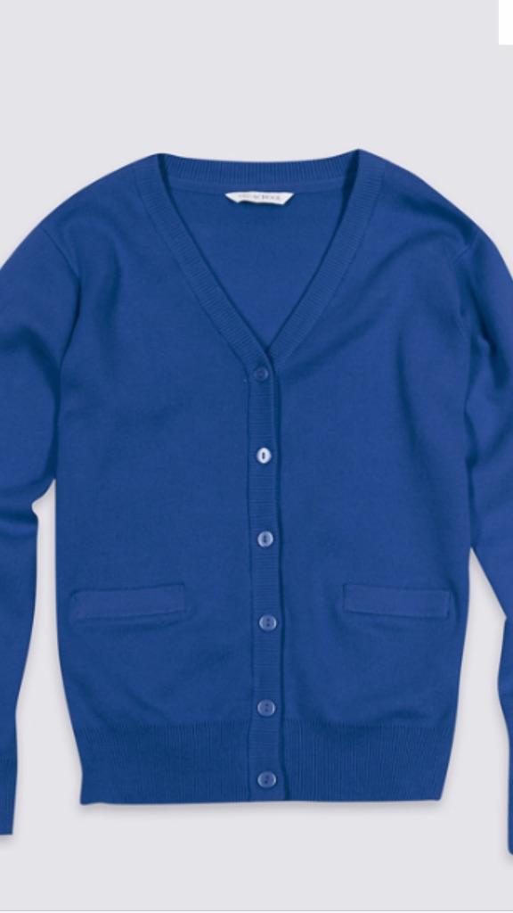 Glenlola royal blue school cardigan age 15-16