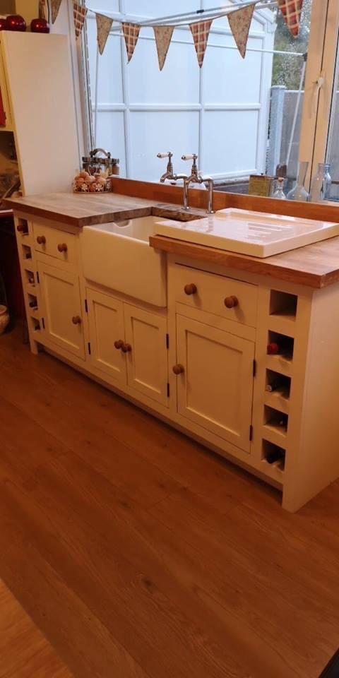 Solid pine kitchen sink unit with oak worktop