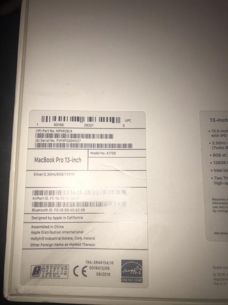 Macbook Pro 13'' 2018 without Touchbar