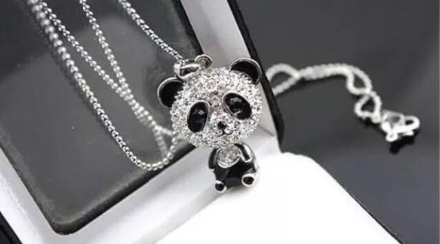 New Diamonte panda necklace