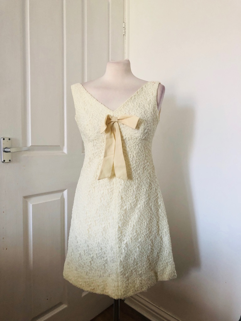 Women's cream vintage dress by Annelie couture size S/M