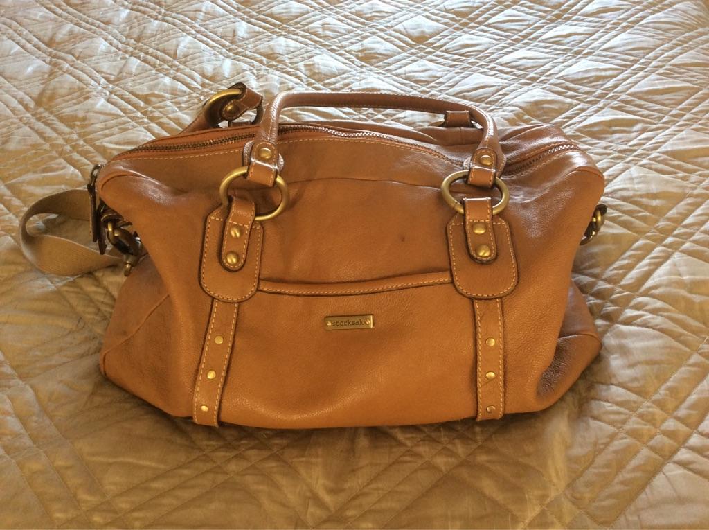 Luxury tan leather changing bag (Storksak)