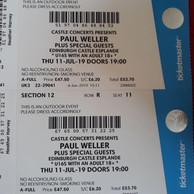 Paul weller x 2 tickets