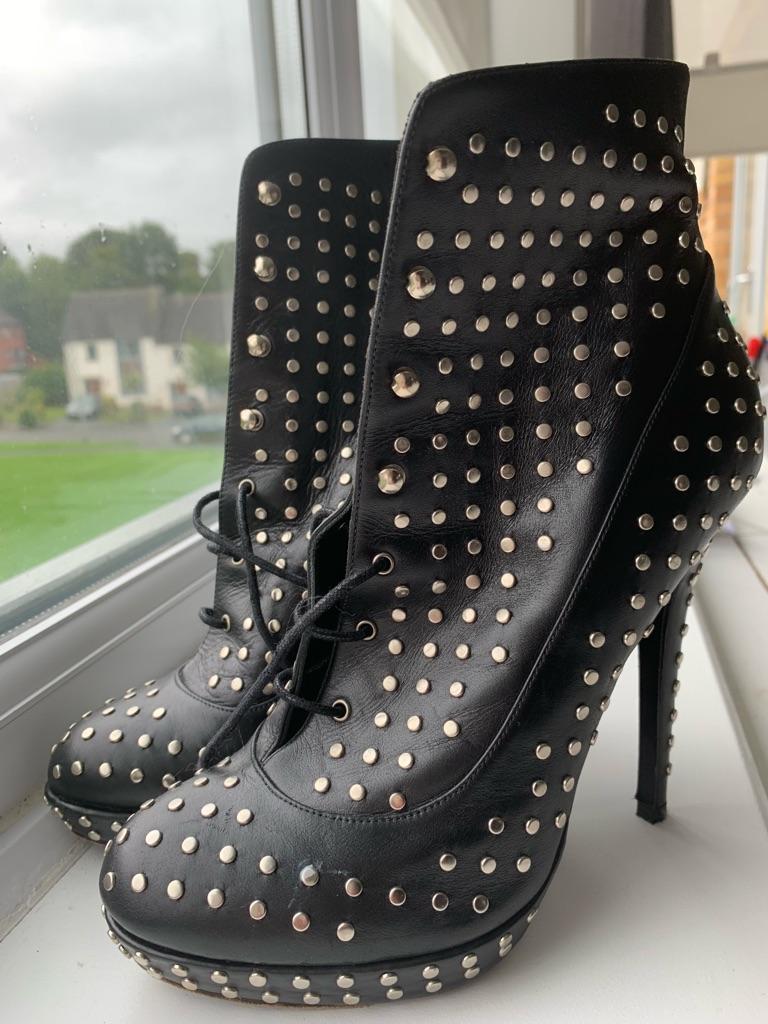 Karl Lagerfeld Black High Heels Leather Shoes U.K. 4 Eu 37