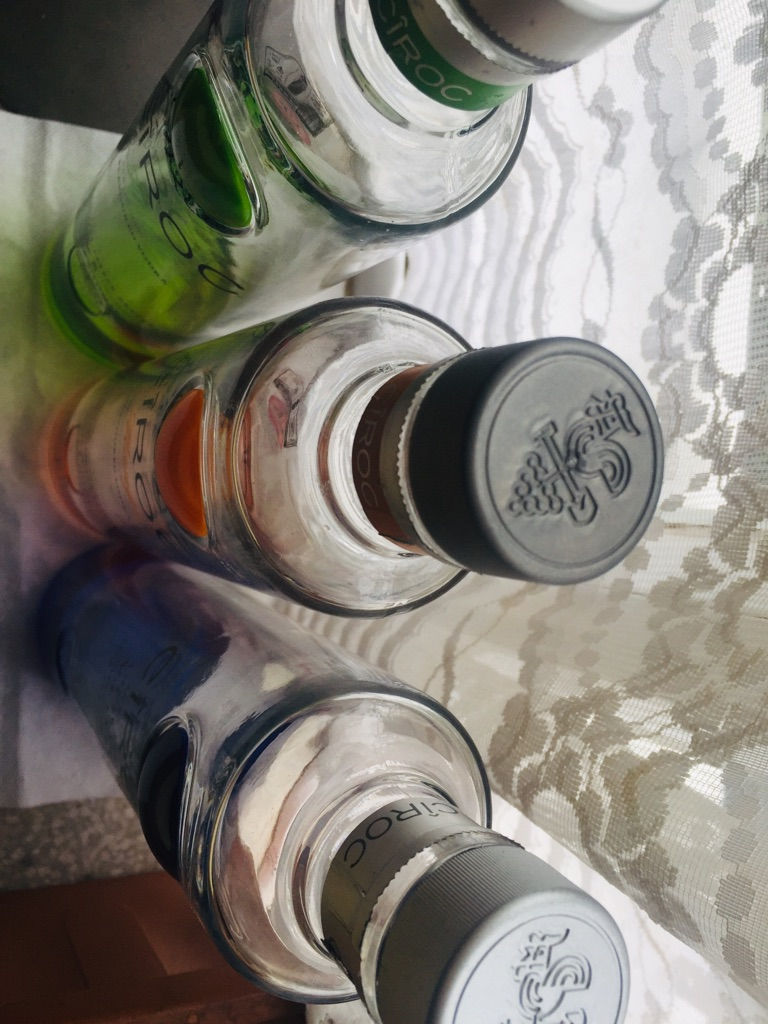 Empty glass bottles Ciroc.### 1